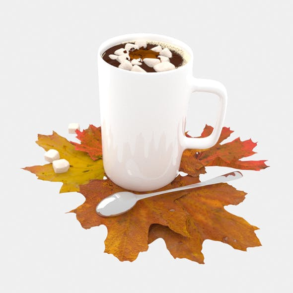 Cup of coffee with maple leaves