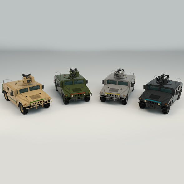 Low Poly Military 4x4 02 - 3DOcean Item for Sale