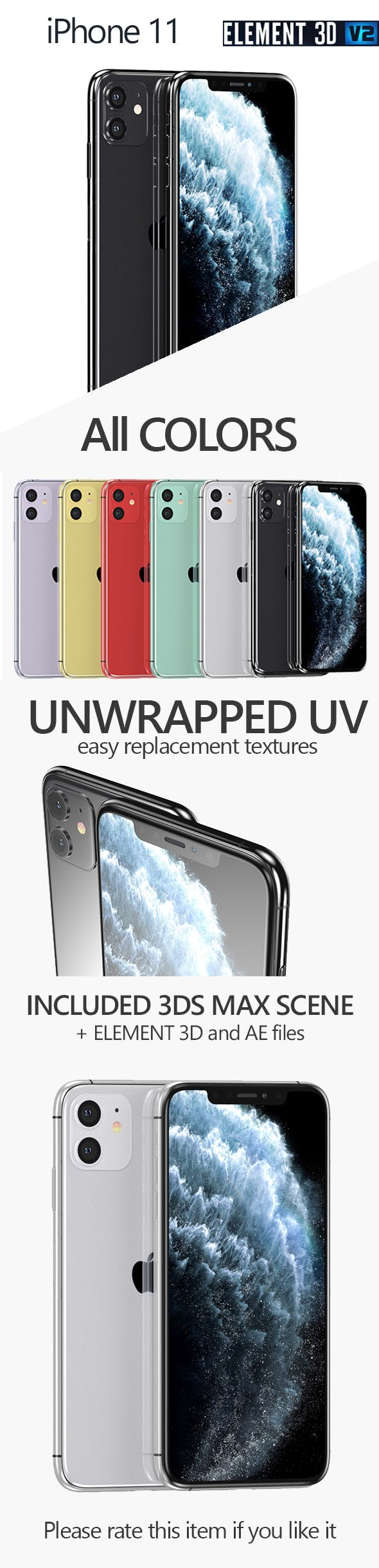 Apple iPhone 11 - All Colors - 3DOcean Item for Sale