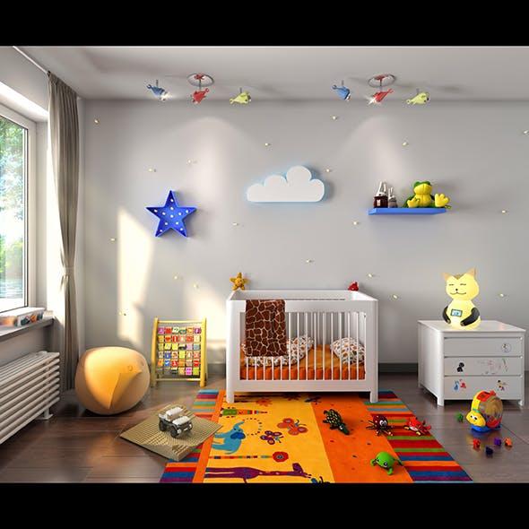 3d Interior scene kids bedroom
