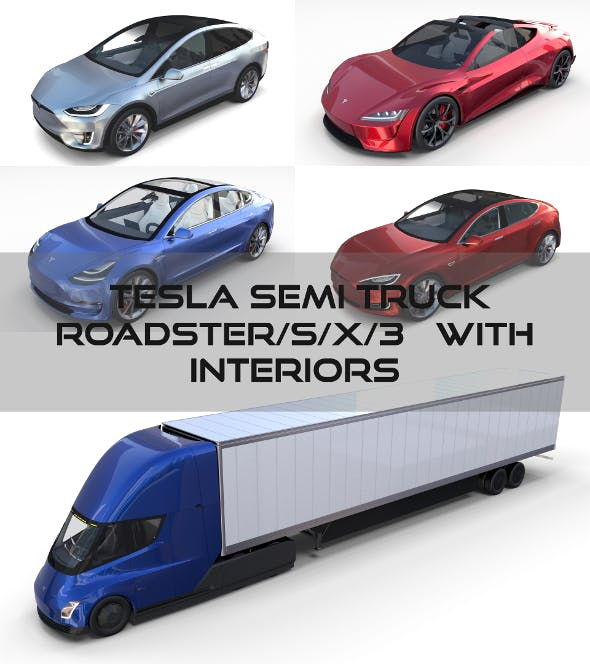 Tesla Pack(Semi Roadster Model S X 3) with interiors - 3DOcean Item for Sale