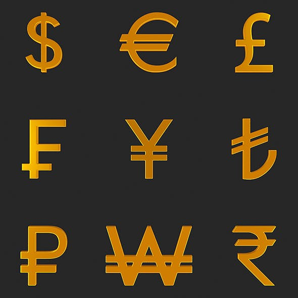 Currency Symbol 3D Model Set - 3DOcean Item for Sale