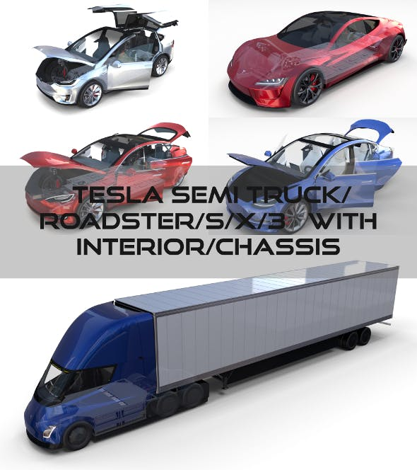 Tesla Pack Semi Roadster Model S X 3 With Interiors And