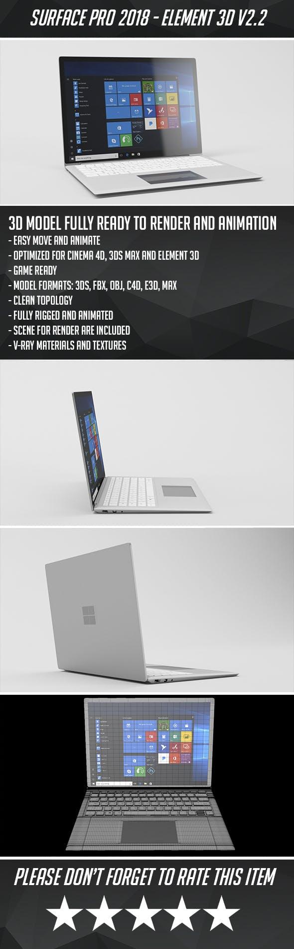 Surface Laptop Pro 2018 - 3DOcean Item for Sale