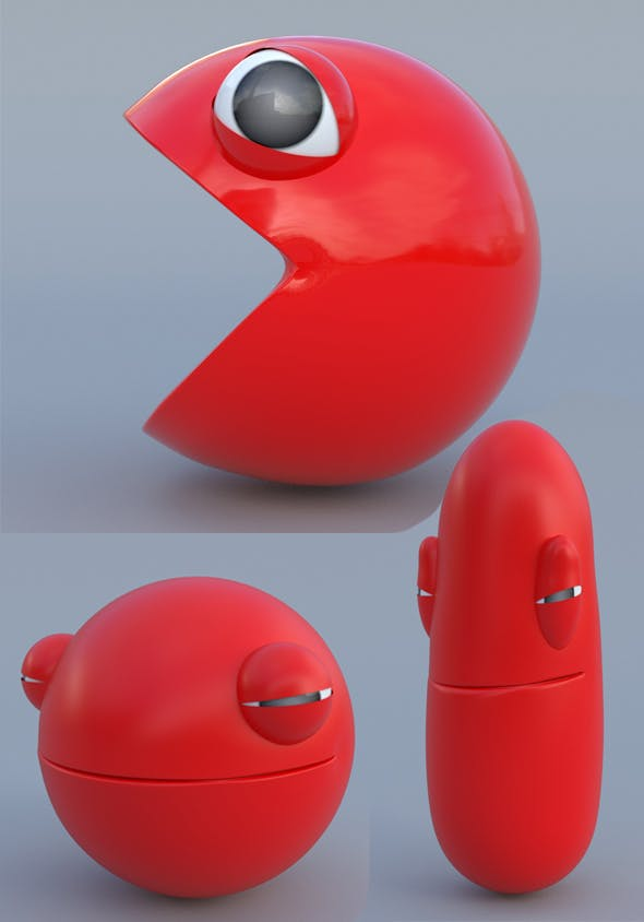 Pacman 3d model and rig squash stretch - 3DOcean Item for Sale