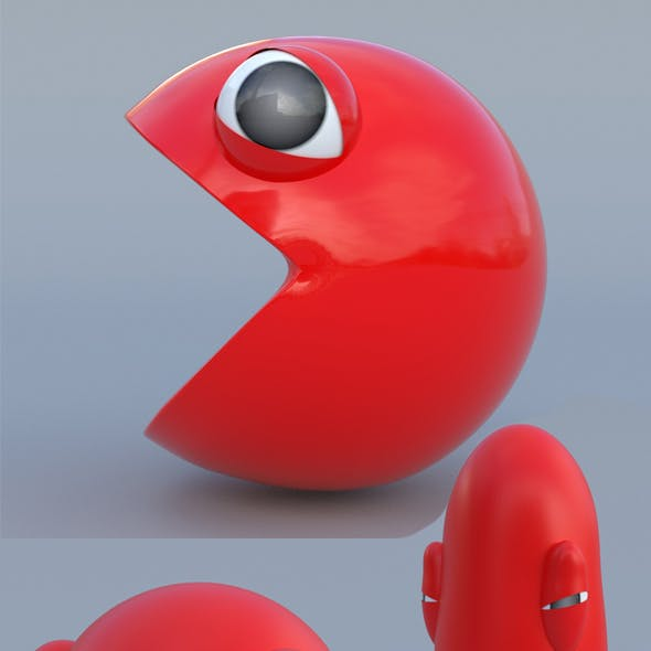Pacman 3d model and rig squash stretch