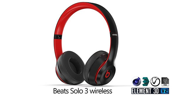 Beats Solo 3 wireles red-black - 3DOcean Item for Sale