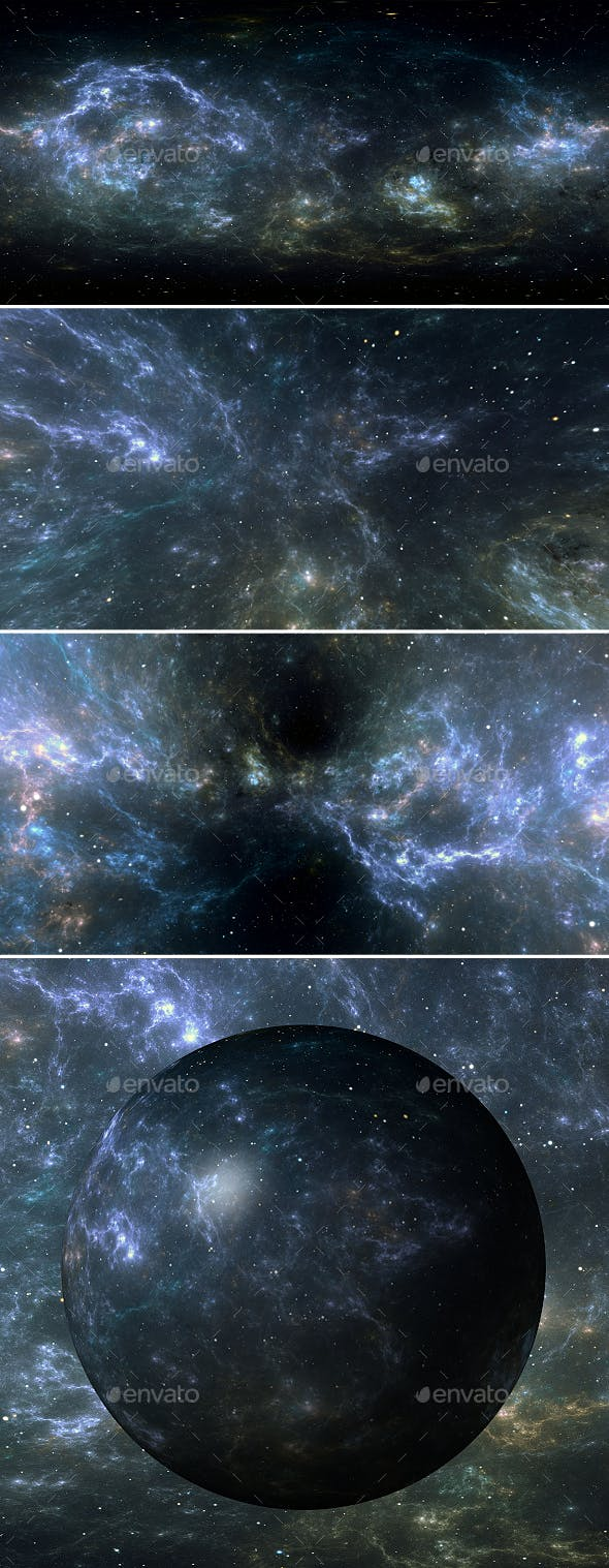 360 degree space background with nebula and stars, equirectangular projection, environment map - 3DOcean Item for Sale