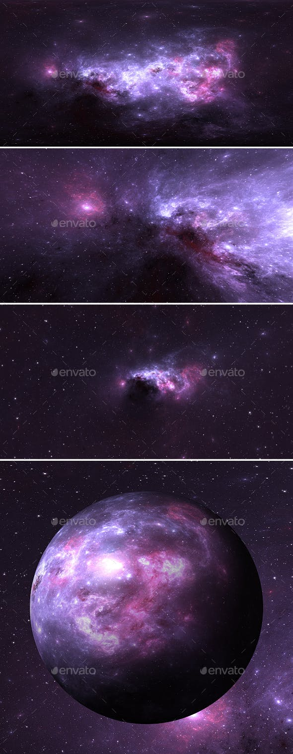 360 degree space background with nebula and stars, equirectangular projection - 3DOcean Item for Sale