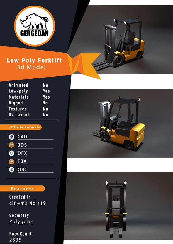 Low Poly Forklift - 3DOcean Item for Sale