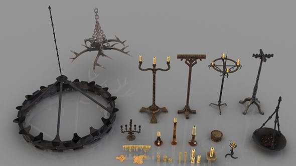 Set of 24 Medieval Candleholders and Candles - 3DOcean Item for Sale
