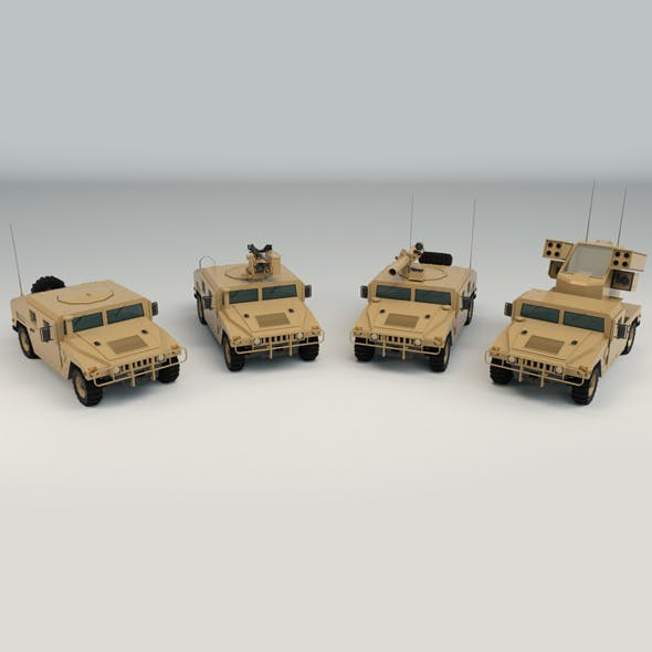 Low Poly Military 4x4 Pack - 3DOcean Item for Sale