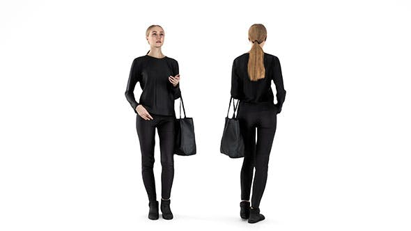 Woman dressed in black 58 - 3DOcean Item for Sale