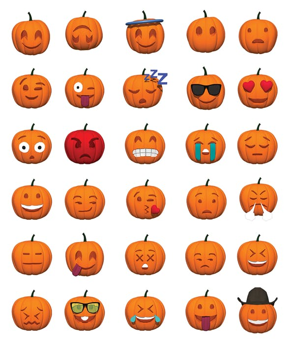Pumpkin Smiley Set of 30 Expressions for Halloween (2D and 3D) - 3DOcean Item for Sale