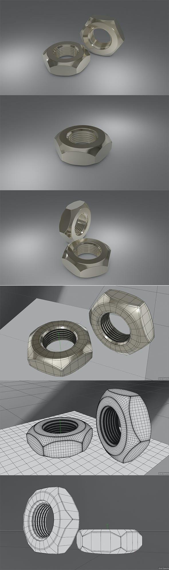 3D Steel Hex Nute - 3DOcean Item for Sale