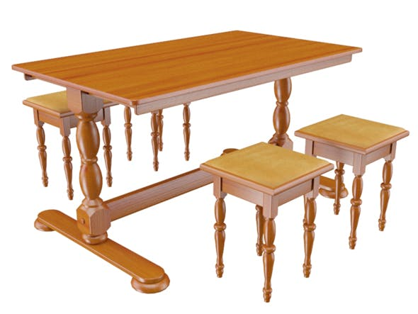 Wooden dining table - 3DOcean Item for Sale