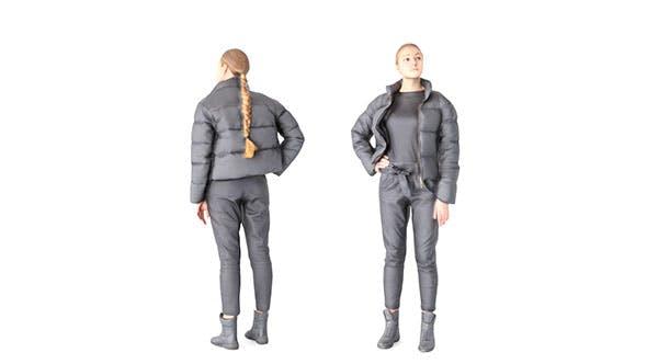 Woman in black dawn jacket 59 - 3DOcean Item for Sale