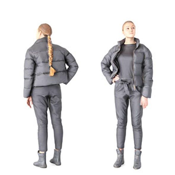 Woman in black dawn jacket 59
