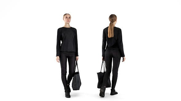 Young woman with bag walking 61 - 3DOcean Item for Sale