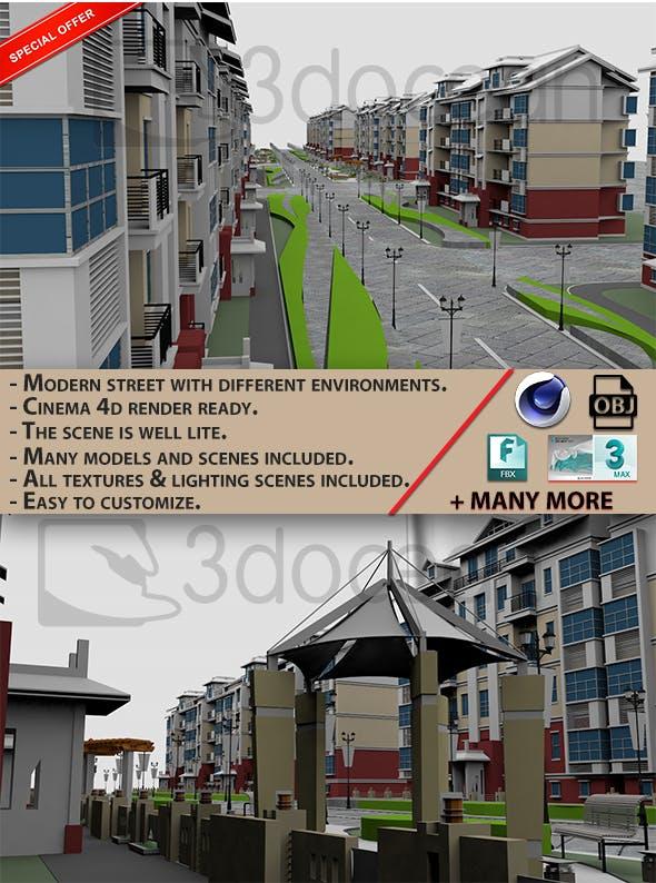 Modern Street Scenes 3D model - 3DOcean Item for Sale