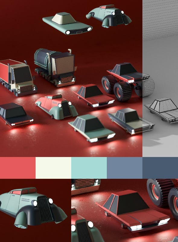 3D cartoon car pack - 3DOcean Item for Sale
