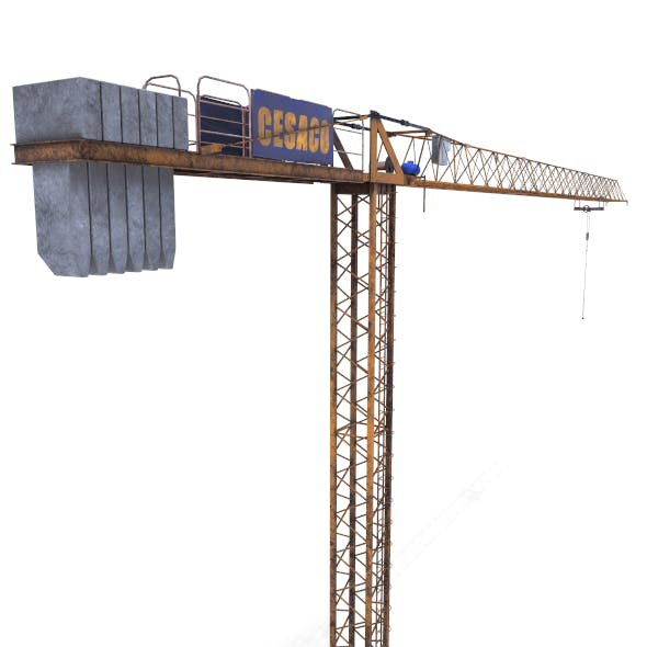 Low Poly Tower Crane Weathered - 3DOcean Item for Sale