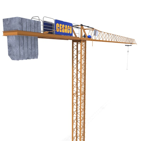 Low Poly Tower Crane - 3DOcean Item for Sale