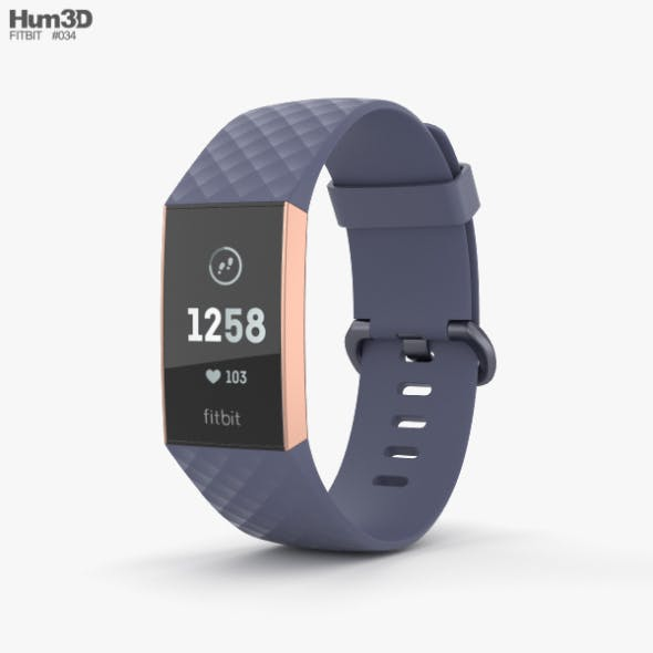 Fitbit Charge 3 Blue - 3DOcean Item for Sale