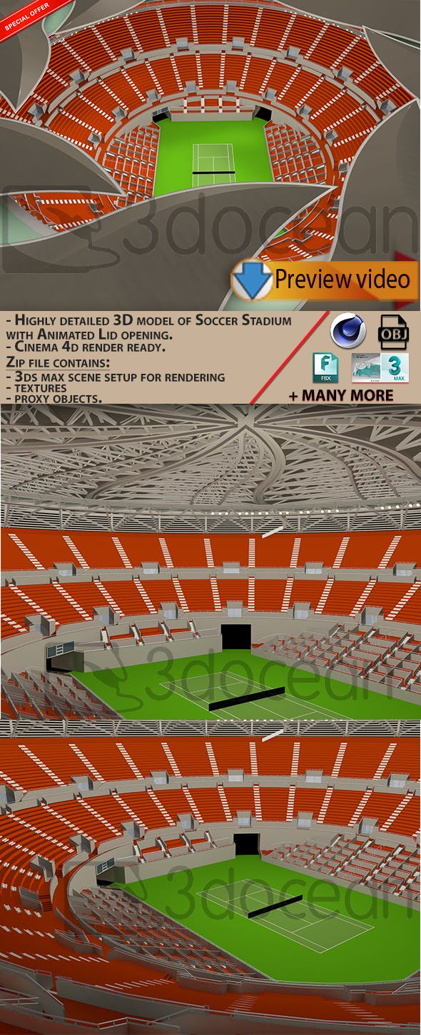 Tennis Stadium - 3DOcean Item for Sale