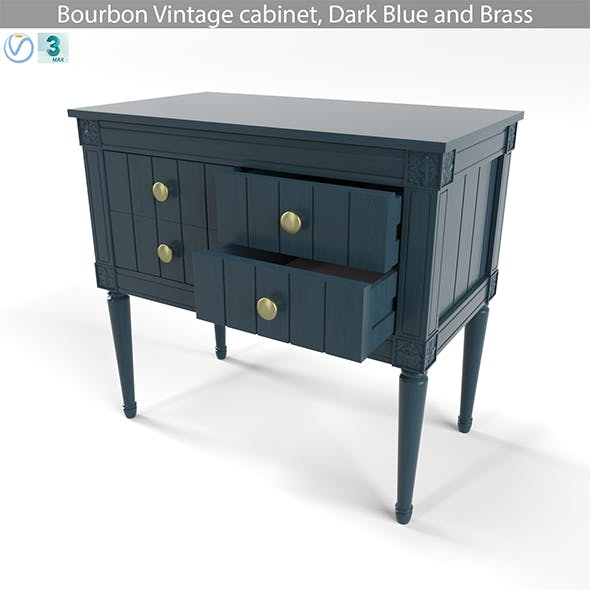 MADE Bourbon Vintage cabinet, Dark Blue and Brass - 3DOcean Item for Sale