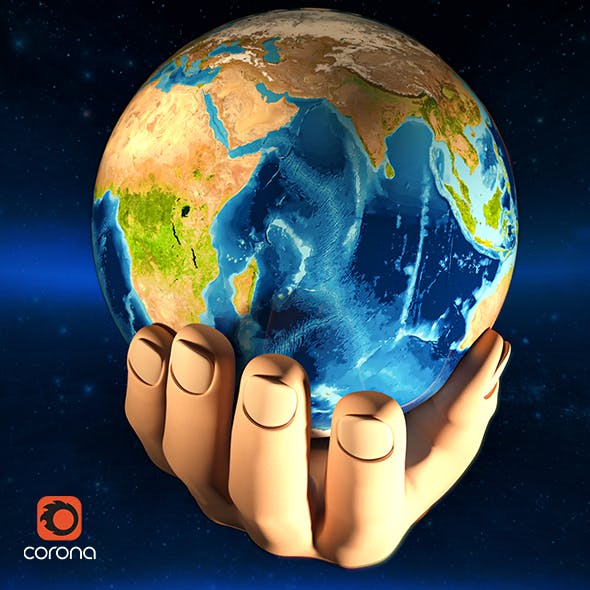 Earth in human hands rotation loop 3D