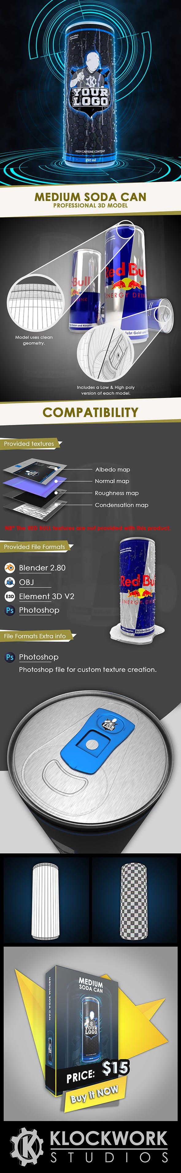 Medium soda / energy drink can - 3DOcean Item for Sale