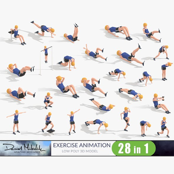 Exercise Animations Bundle Woman