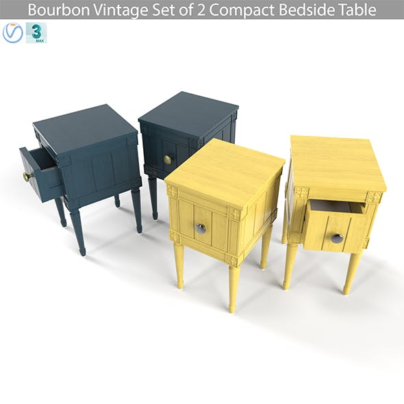 MADE Bourbon Vintage Set of 2 Compact Bedside Table, Blue and Mustard - 3DOcean Item for Sale
