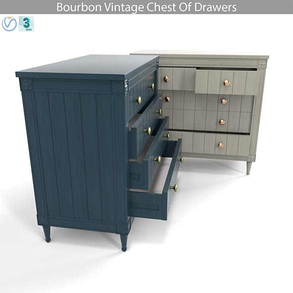 Bourbon Vintage Chest Of Drawers, Grey and Dark Blue - 3DOcean Item for Sale
