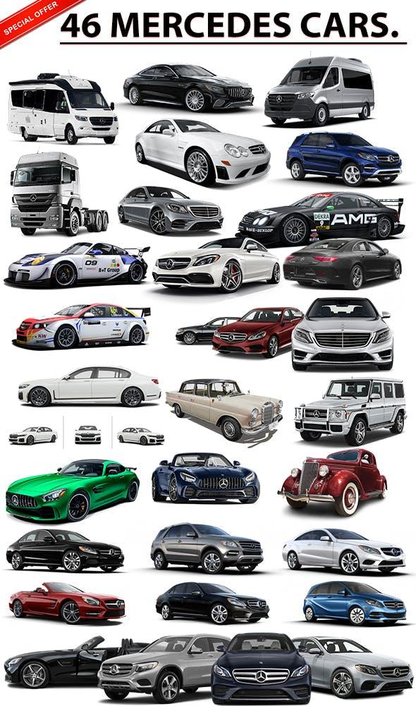 46 MERCEDES CAR PACK MODELS - 3DOcean Item for Sale