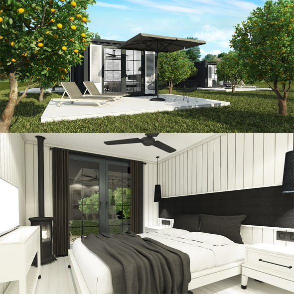 Container House Exterior Interior - 3DOcean Item for Sale