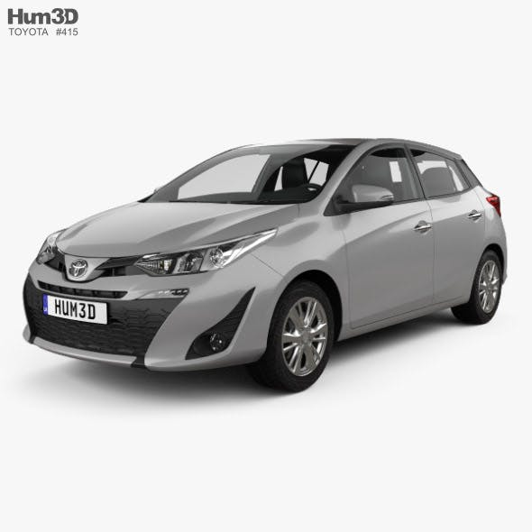 Toyota Yaris hatchback with HQ interior 2018 - 3DOcean Item for Sale
