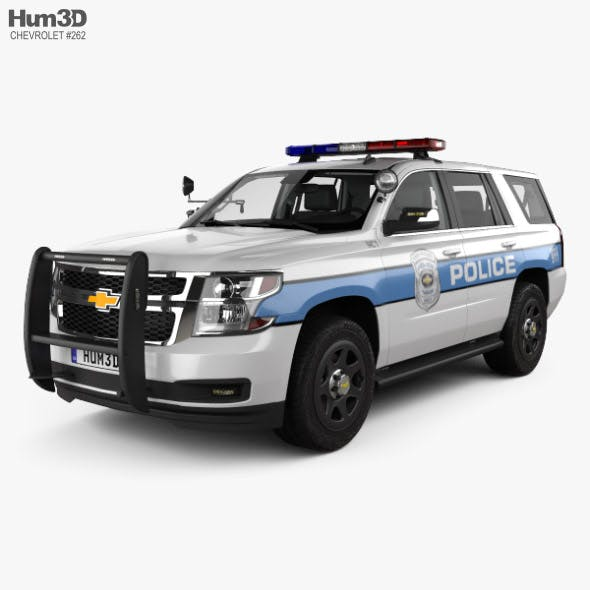 Chevrolet Tahoe Police with HQ interior 2016 - 3DOcean Item for Sale