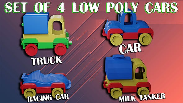 Cars low poly Set consists Car Milk tanker Racing car Truck - 3DOcean Item for Sale