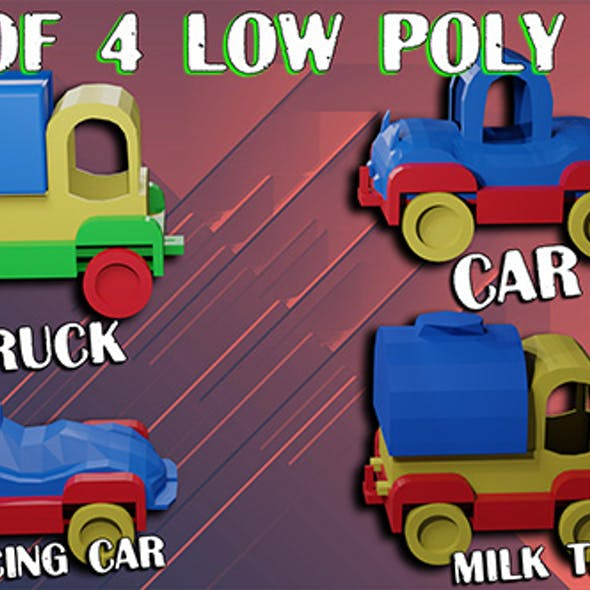 Cars low poly Set consists Car Milk tanker Racing car Truck