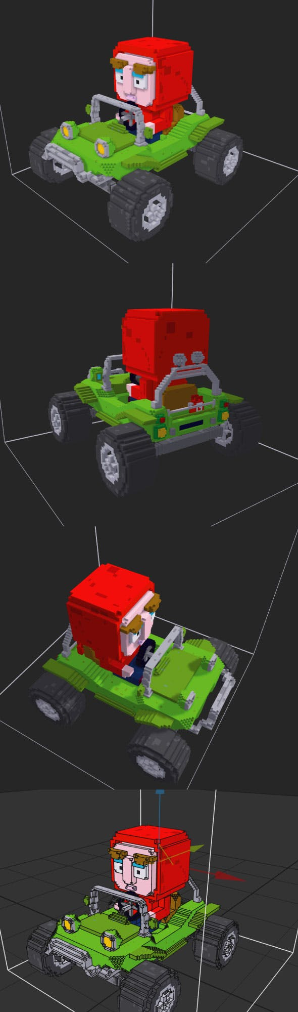 Voxel Buggy Race Car & Character - 3DOcean Item for Sale