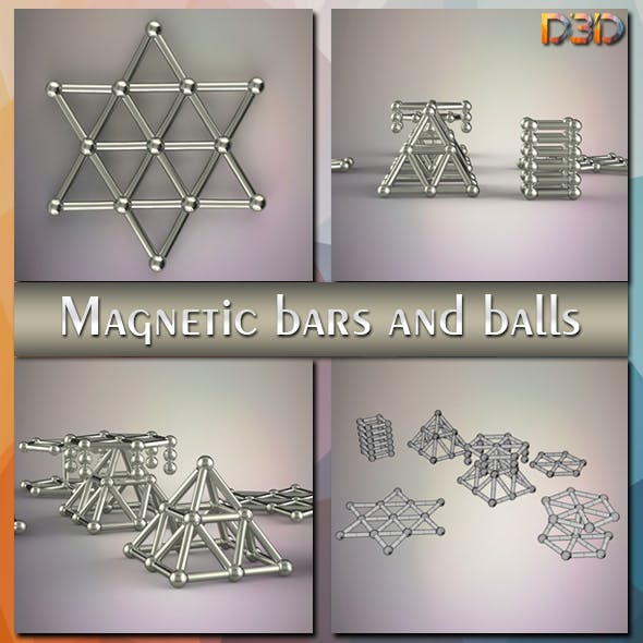 Magnetic bars and balls - 3DOcean Item for Sale