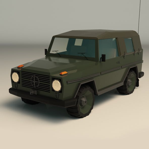 Low Poly Military Jeep 02