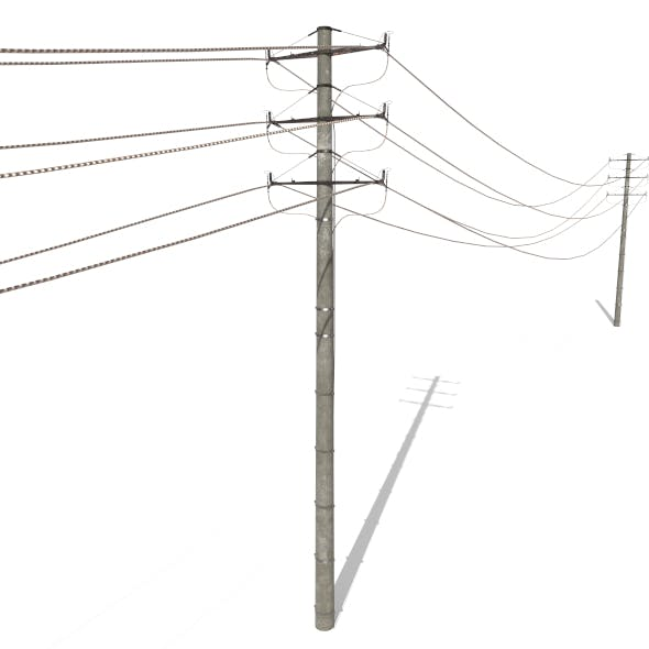 Electricity Pole 18 - 3DOcean Item for Sale