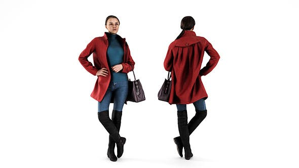 Woman in Red Coat 69 - 3DOcean Item for Sale