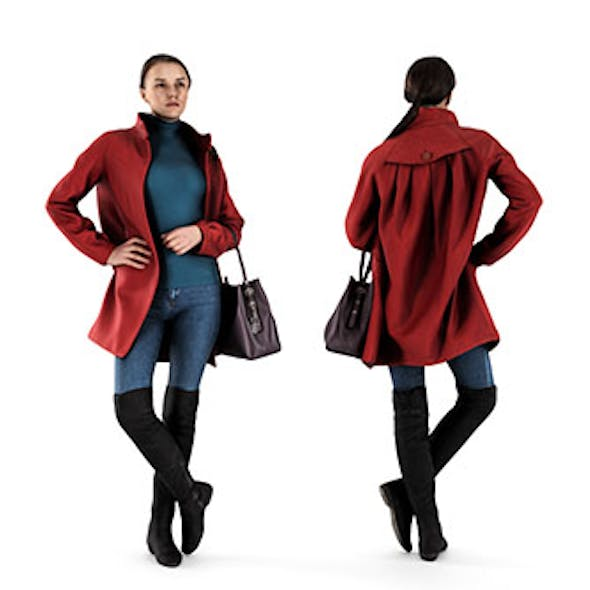 Woman in Red Coat 69