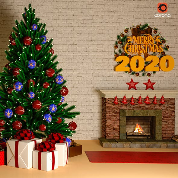 2020 Christmas tree night lightning in house - 3DOcean Item for Sale