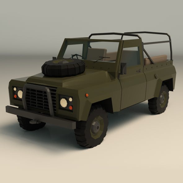 Low Poly Military Jeep 03