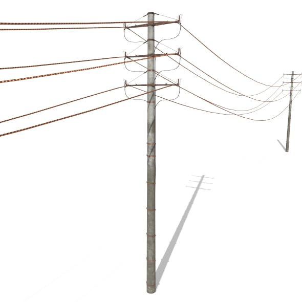 Electricity Pole 18 Weathered - 3DOcean Item for Sale